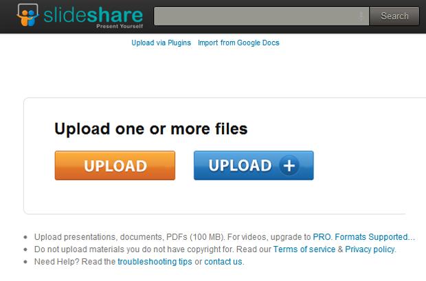 Publicando um arquivo no Slideshare (Foto: Reprodução)