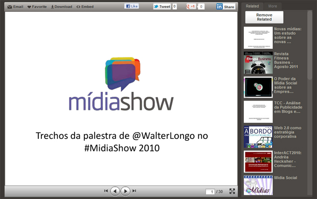 Tela de apresentação de conteúdo no Slideshare (Foto: Reprodução)