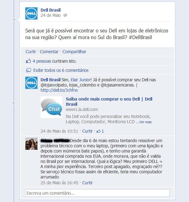 A Dell se mostra mais ágil no Twitter do que no Facebook, onde algumas reclamações ficam sem resposta (Foto: Reprodução)