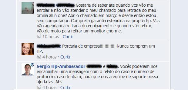 Funcionários da HP fazem o trabalho de esclarecer dúvidas e problemas no Facebook (Foto: Reprodução)