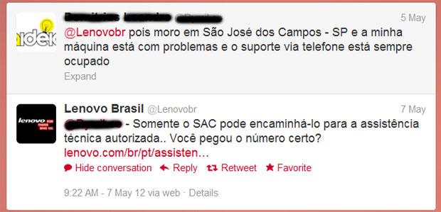 Lenovo se mostra mais ágil no Twitter na hora de dar satisfações a consumidores com problemas (Foto: Reprodução)