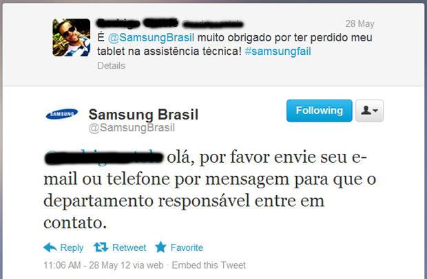 A Samsung usa o canal no Twitter para interceder pelo consumidor em caso de problemas (Foto: Reprodução)