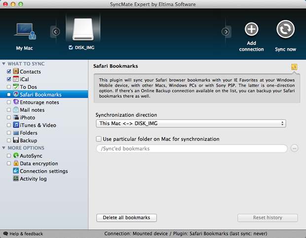 Configurações do backup dos favoritos do Safari (Foto: Reprodução / Pedro Pisa)