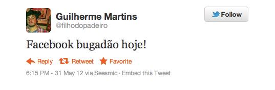 Usuários do Rio de Janeiro também relataram problema por volta das 19hs. (Foto: Reprodução/Twitter)