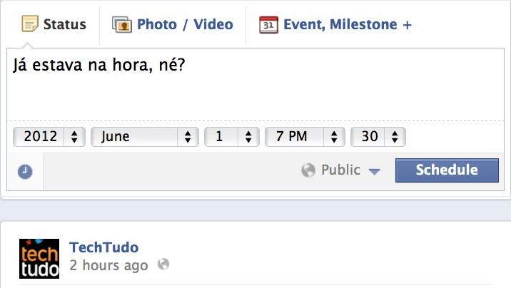 Agendamento de posts, agora será possível diretamente nas páginas do Facebook (Foto: Reprodução) (Foto: Reprodução)