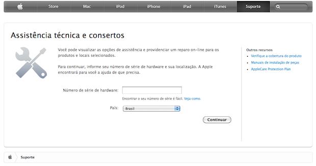 Atendimento no site da Apple (Foto: Reprodução/TechTudo)