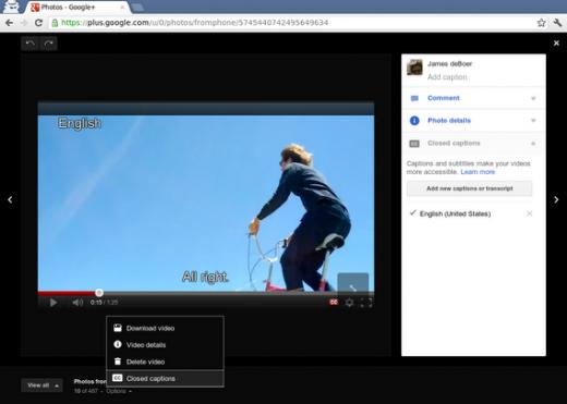 Edição de vídeos do Google+ agora permite adição de legendas (Foto: Reprodução)