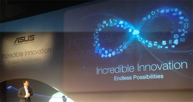 Jonney Shih no palco da coletiva de imprensa da Asus na Computex 2012 (Foto: Nick Ellis)