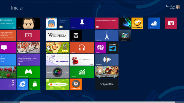 Tela inicial do Windows 8.