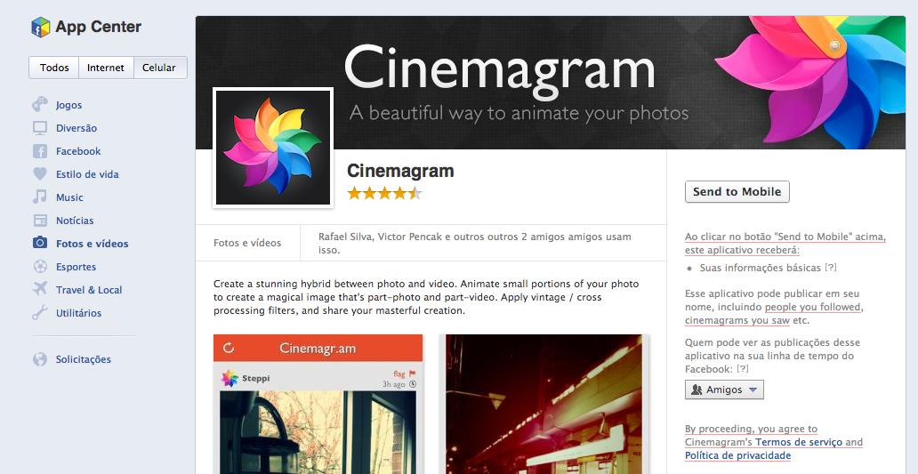 Página do Cinamagram na App Center (Foto: Reprodução/TechTudo)