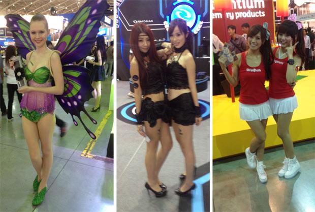 As showgirlds estavam presentes na maioria dos grandes stands da Computex  (Foto: Nick Ellis)