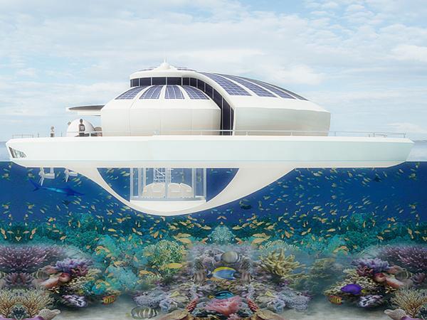 O projeto prevê um observatório submerso com espaço para seis pessoas (Foto: Divulgação)