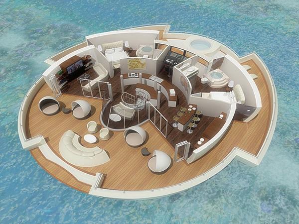 O resort flutuante apresentaria uma área total de 110 metros quadrados (Foto: Divulgação)