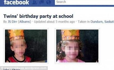 Post falso com as imagens dos gêmeos em seu aniversário (Foto: Reprodução)