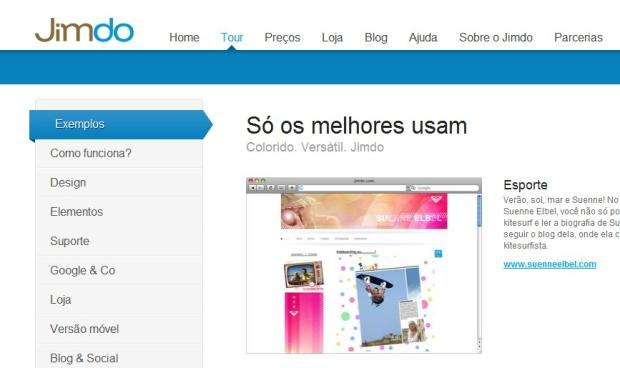 Site Jimdo (Foto: Reprodução)