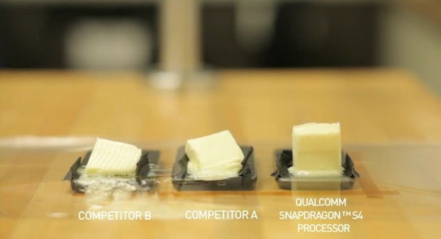 Qualcomm mostra que seus Snapdragon S4 esquentam muito menos que a concorrência (Foto: Reprodução)