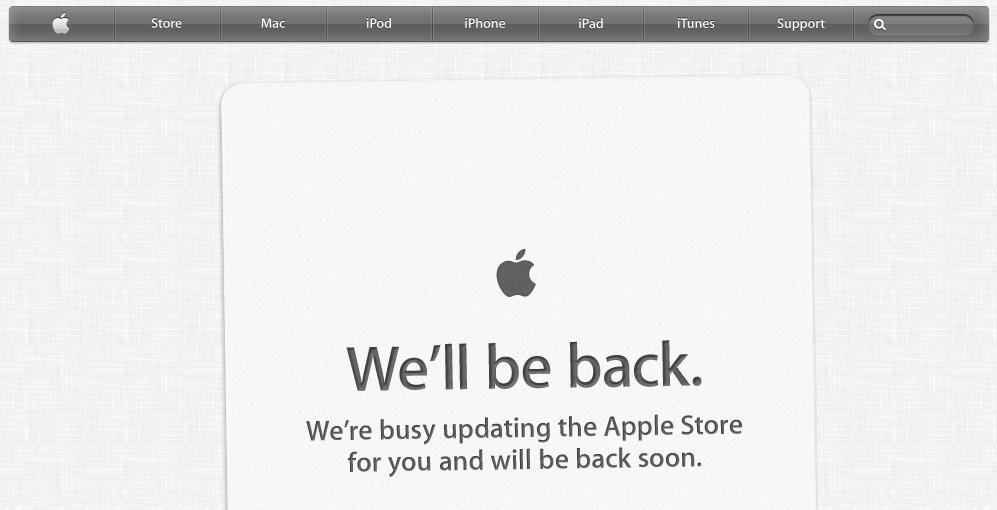 Apple Store já saiu do ar, para receber novidades do WWDC mais tarde (Foto: Reprodução/Apple Store)