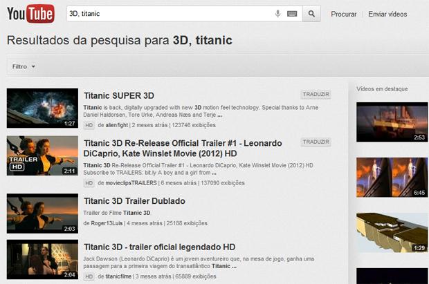 Buscando conteúdo 3D no YouTube (Foto: Reprodução/Teresa Furtado)