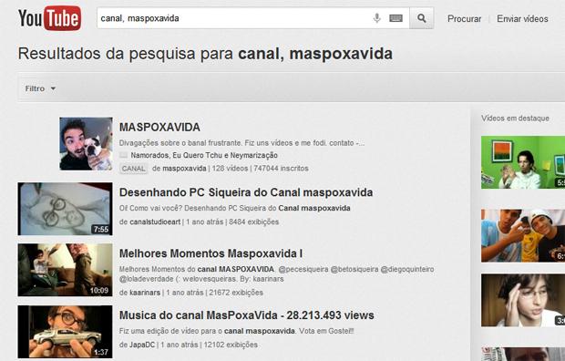 Buscando dentro de um canal no YouTube (Foto: Reprodução/Teresa Furtado)
