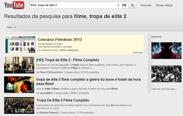 Procurando filmes completos no YouTube (Foto: Reprodução/Teresa Furtado)
