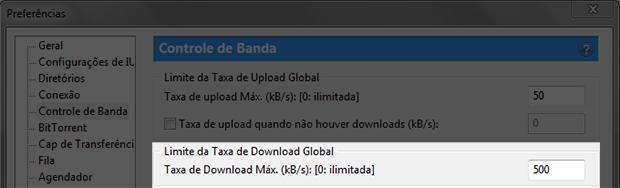 Limitando a taxa de download do uTorrent