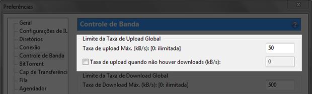 Limitando a taxa de upload do uTorrent