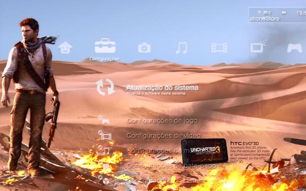 Tema de Uncharted 3 para o PS3 (Foto: Reprodução)