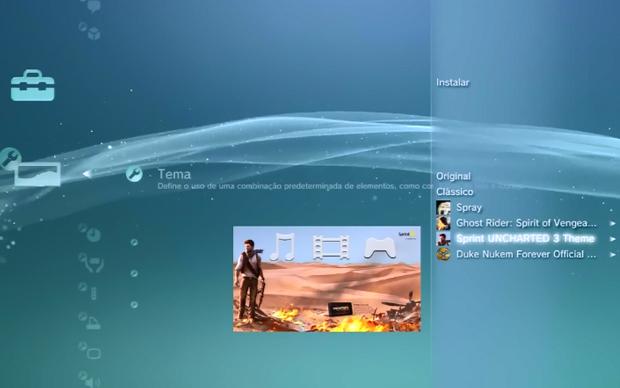 Escolha o tema instalado no seu PS3 (Foto: Reprodução)