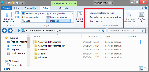 Windows Explorer do Windows 8 (Foto: Reprodução/Helito Bijora)