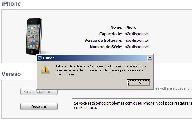 iTunes informando que o iPhone está em modo DFU (Foto: Reprodução/Edivaldo Brito) (Foto: iTunes informando que o iPhone está em modo DFU (Foto: Reprodução/Edivaldo Brito))