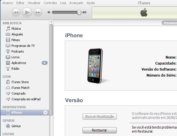 Restaurando o iPhone para zerar os dados do aparelho (Foto: Reprodução/Edivaldo Brito)