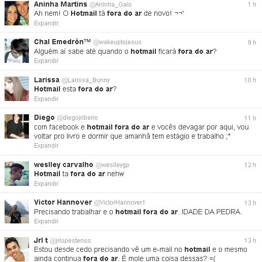 Reclamações dos usários do Twitter sobre o bug no e-mail do Hotmail (Foto: Reprodução)