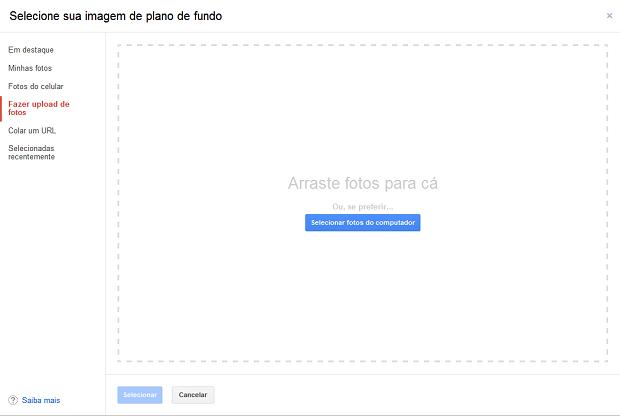 Fazendo upload de uma imagem do seu computador para colocar no Gmail (Foto: Reprodução/Helito Bijora)