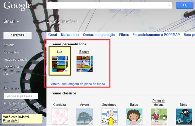 Abrindo os temas personalizados do Gmail (Foto: Reprodução/Helito Bijora)