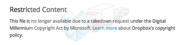 Dropbox remove links públicos a pedido da Microsoft (Foto: Reprodução/The Verge)