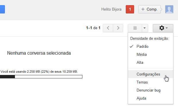 Acessando as configurações do Gmail (Foto: Reprodução/Helito Bijora)