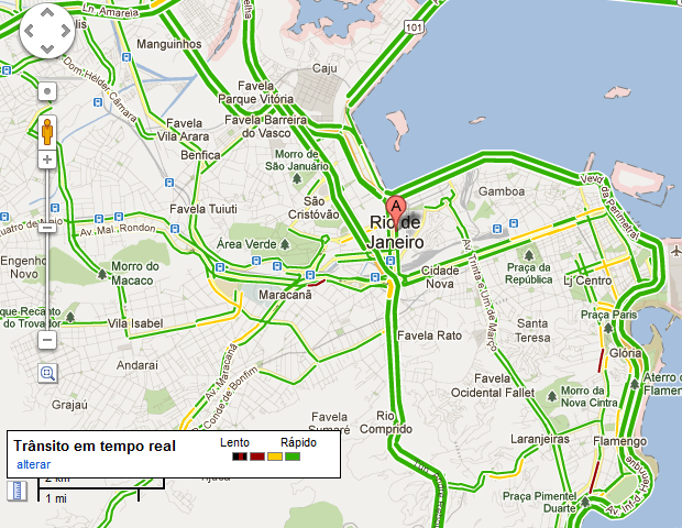 Condições do trânsito no Rio de Janeiro exibidas em tempo real no Google Maps (Foto: Reprodução/Google)