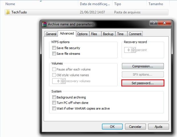 Opções avançadas de compactação de arquivos