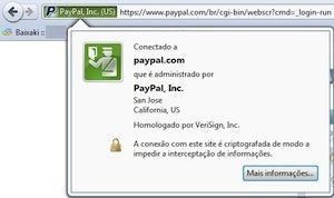 Tela do navegador com certificado para o PayPal autenticado da Autoridade Certificadora VeriSign (Foto: Reprodução)