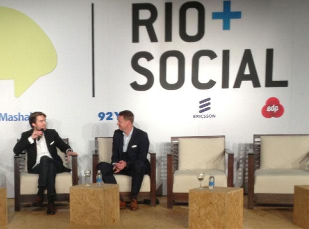 Pete Cashmore do Mashable e Hans Vestberg, CEO da Ericsson (Foto: Nick Ellis)