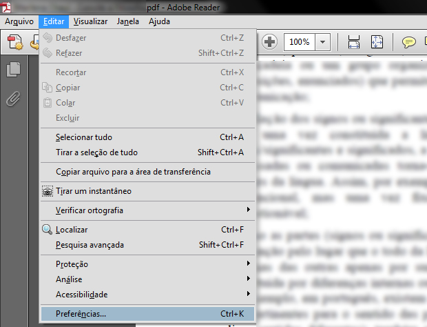 Acessando as preferências do Adobe Reader