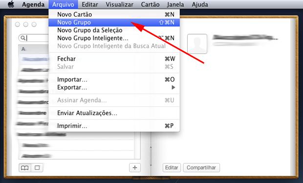 No aplicativo Agenda, clique no menu Arquivo e, em seguida, em Novo Grupo. (Foto: Reprodução/Hugo Carvalho)