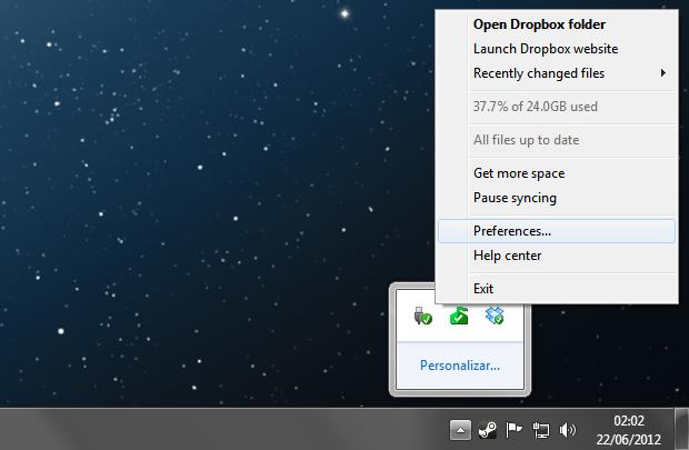 Acessando as configurações do Dropbox (Foto: Reprodução/Helito Bijora)