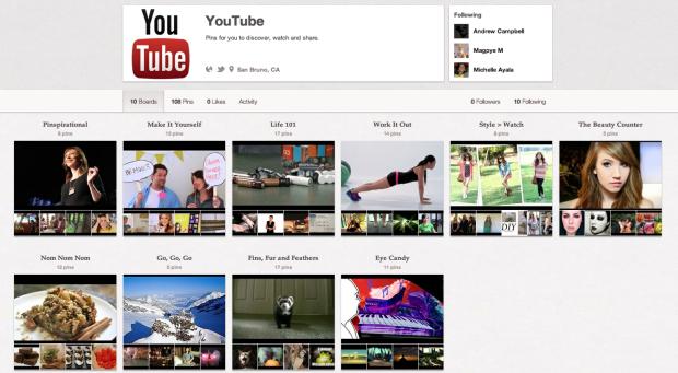 Canal oficial do YouTube no Pinterest (Foto: Reprodução/Pinterest)