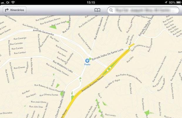 Mapas da Apple mostram ruas brasileiras na nova versão beta do iOS 6 (Foto: Reprodução/MacMagazine)