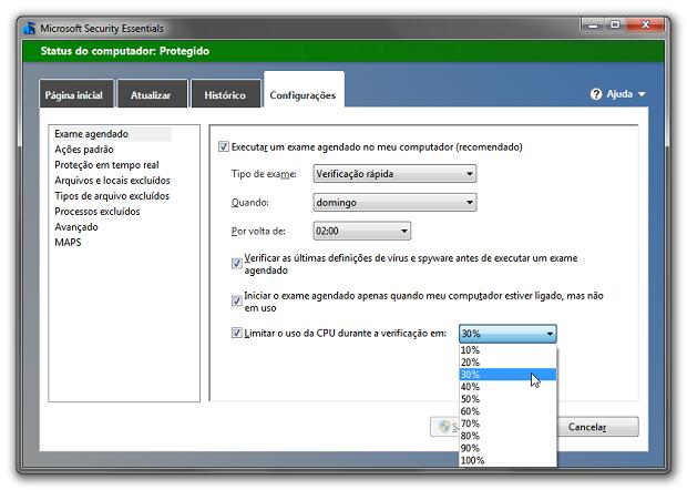 Configurações do Microsoft Security Essentials (Foto: Reprodução/Helito Bijora)
