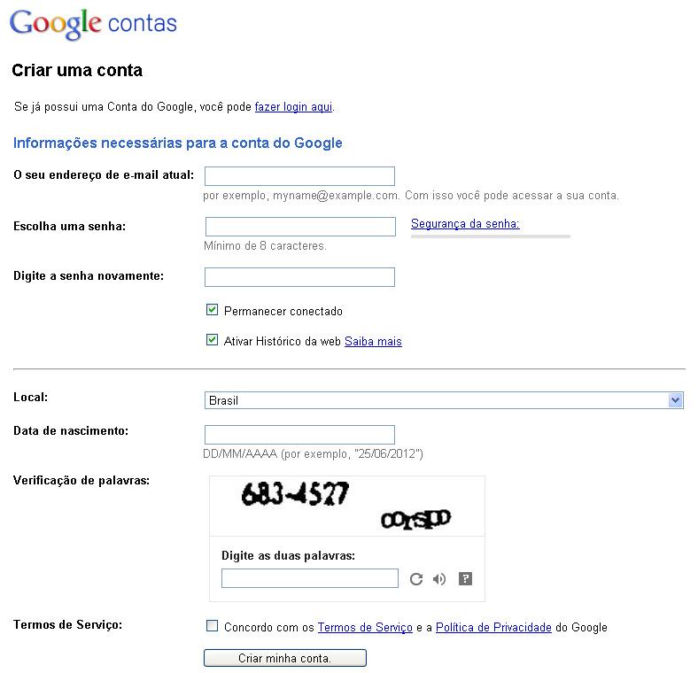 Preenchendo os campos para criar uma conta no Google (Foto: Reprodução)