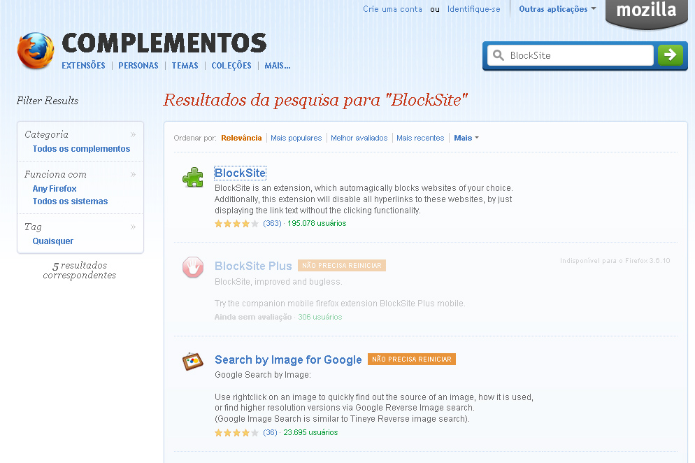 Resultados da pesquisa para BlockSite (Foto: Reprodução)
