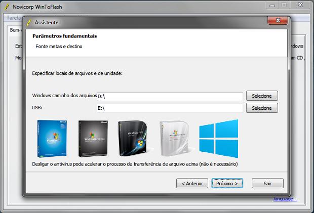Definindo pasta com arquivos de instalação do Windows e pen drive (Foto: Reprodução/Helito Bijora)