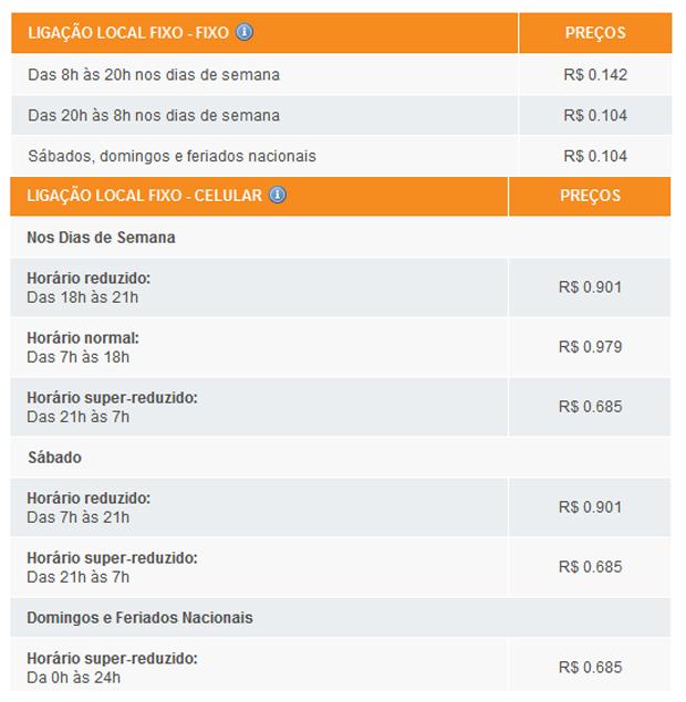 Tabela das tarifas de telefonia da GVT (Reprodução)